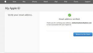 پیام تأییدساخت اپل آیدی، موفق بودن ساخت اپل آیدی،انتخاب گزینه return the store