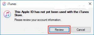 بخش تکمیل اطلاعات، انتخاب گزینه review،وارد کردن مجدد آدرس آمریکا
