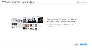 انتخاب create apple id برای ساخت اکانت، پنجره خوشامدگویی، انتخاب گزینه Continue