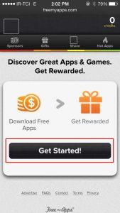 نصب برنامه free my apps، صفحه ورود برنامه free my apps، انتخاب گزینه Get started