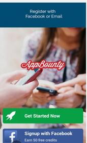 روش ورود به برنامه appbounty،انتخاب گزینه signup whith facebook، انتخاب گزینه get started now