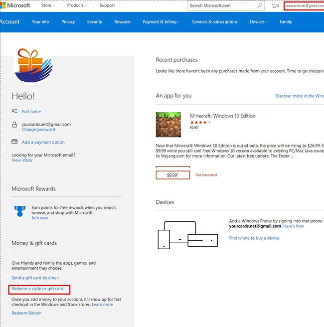 ردیم گیفت کارت مایکروسافت در حساب کاربری یورکاردز