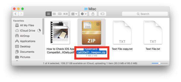 اپلود فایل های iCloud Drive در بخش Icon View در Mac Finder