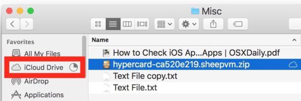 اپلود فایل ها در iCloud Drive در بخش سایدبار یا همان نوار کناری Finder