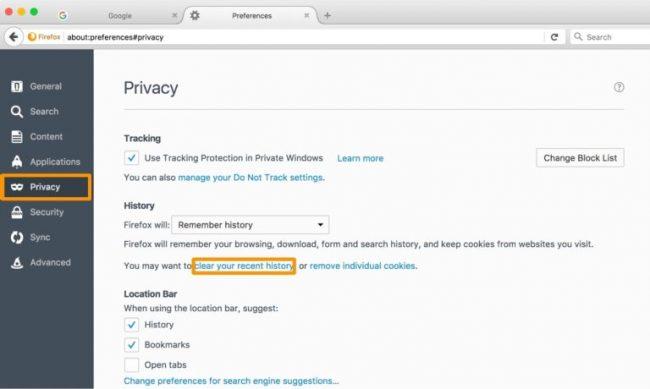 حذف کش هیستوری در Mozilla FireFox