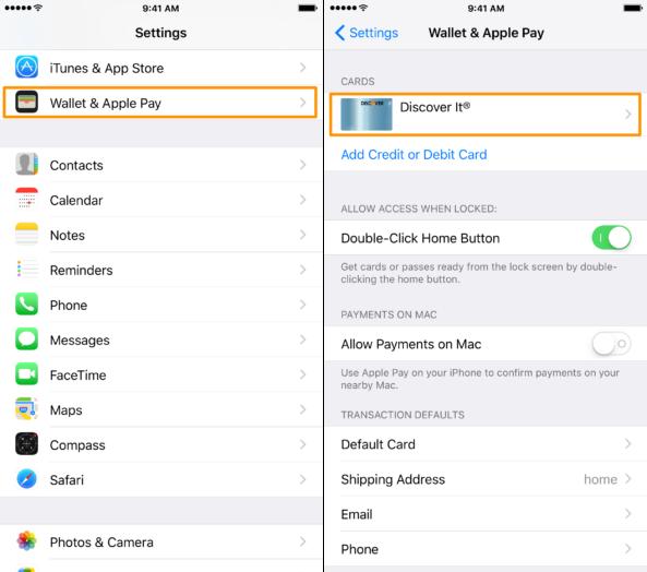اموزش حذف اطلاعات کارت اعتباری از اپل پی