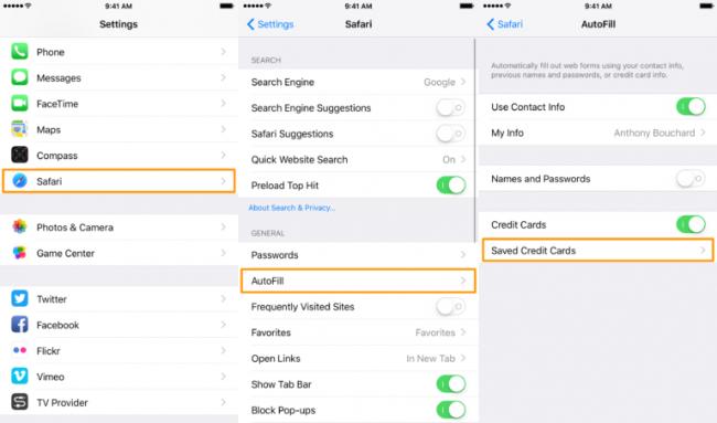 اموزش حذف اطلاعات کارت اعتباری در بخش AutoFill سافاری