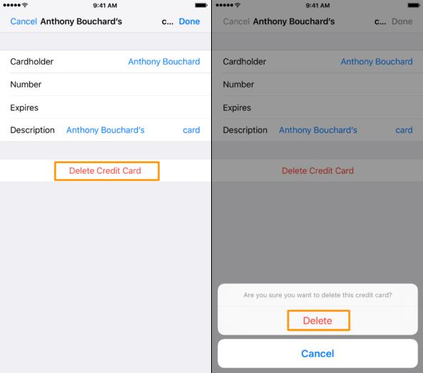 حذف مشخصات کردیت کارت در گوشی اپل