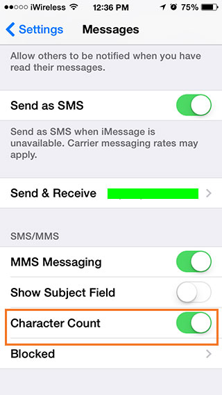 فعال کردن کاراکتر شمار پیام ها در آیفون و آیپد