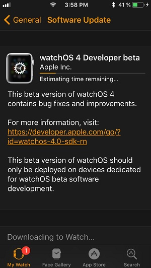 نصب watchOS 4 Developer Beta