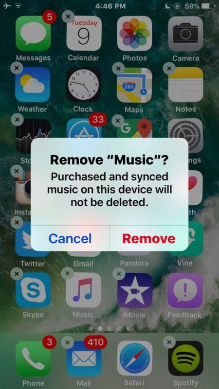 ایا می توان اپلیکیشن Music را در iOS 10 و یا iOS 11 حذف کرد