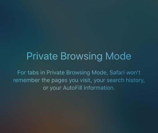 صفحه Private در مرورگر سافاری