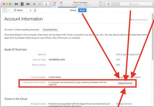 نحوه Deauthorize کردن در iTunes