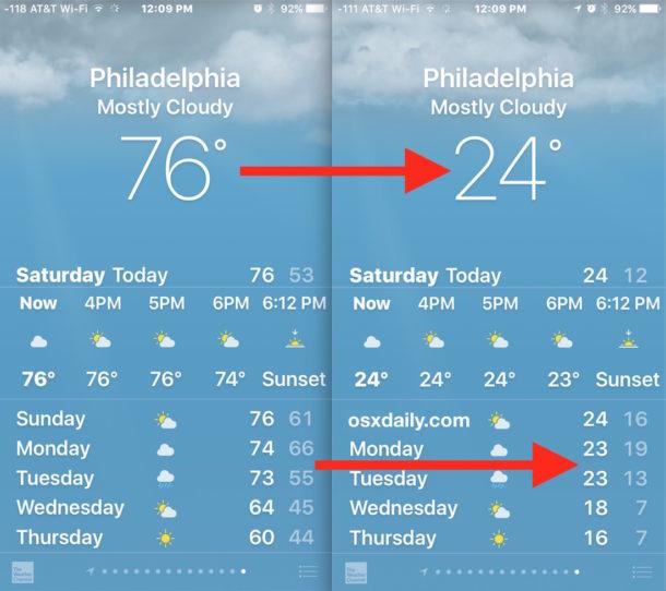 تغییر واحد دمای آب و هوا