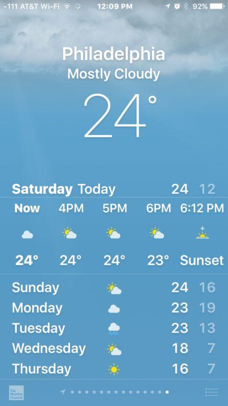 تغییر دمای هوا در اپل